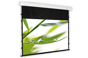 DELUXX Cinema schermo a motore Elegance Tension 16:9 color bianco avorio Varico Flat 244 x 137 cm